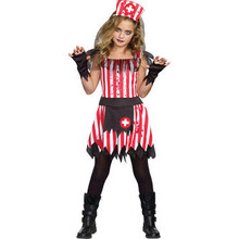 Candy Striper Girl's Tattered & Bloody Nurse Dress w/ Hat & Fingerless Gloves