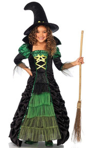 Girl's Storybook Witch Green & Black Dress & Hat
