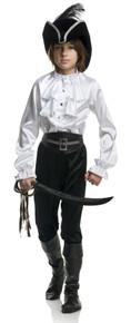 Boy's Pirate Captain Shirt Satin White