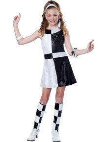 60's Mod Chic Girl's Black & White Dress, Headband & Boot Tops