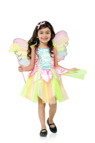 Fairy Rainbow Princess Dress, Wings & Wand