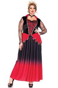 Just Bitten Beauty Full Figure Red & Black Vampire Dress