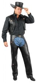 Western Chaps & Vest Men's Black Pleather Plus Size