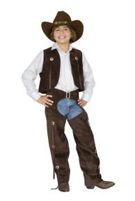 Boy's Cowboy Brown Suede Chaps & Vest