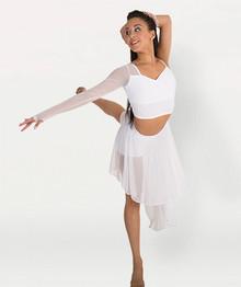 Girl's Asymmetrical Crop Bra Top w/ Mesh Sleeve (BWP1017)