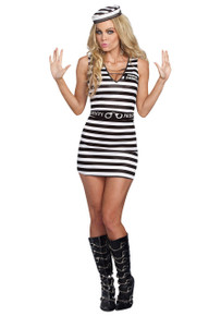 Hitting the Bars Prison Mini Dress w/ Hat (A9983)