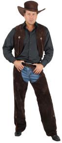 Western Men's Brown Suede Chaps & Vest