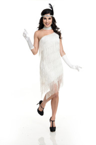 20's Flapper Classic White One Shoulder Fringe Dress