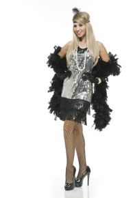 20's Silver & Black Sequin Flapper