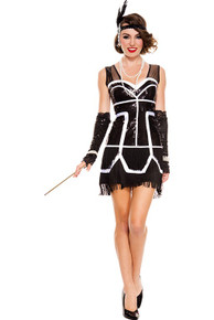 20's Flapper Fever 2PC. Black and White Sparkly Sequin Fringed Flapper (70596)