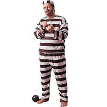 "Convict Black & White Jailbird Full-Figured up to 48"" Chest"