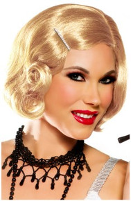 20's Pin Up Girl Cutie Flapper Wig w/ Rhinestone Hair Pin