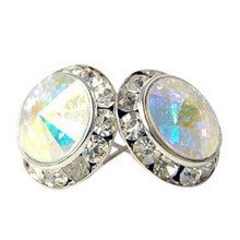 20MM Aurora Swarovski Crystal Earrings w/ Surgical Steel Post