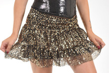 Ruffle Sequin Skirt w/ Elastic Waist Band