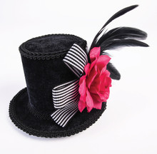 /mini-top-hat-with-black-white-bow-and-pink-flower/
