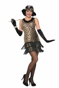 20's Flapper Black with Silver and Gold Sequins