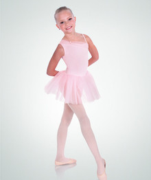Girl's Rhinestone Hearts Asymmetrical Tutu Leotard