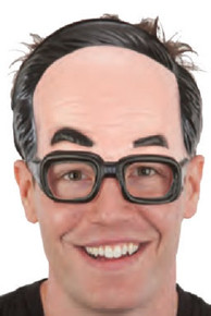 Silly Balding Man w/ Glasses Plastic Front Mask