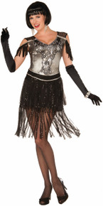 20's Enchanted Flapper Black & Silver Size 14/16