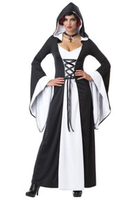 Deluxe Hooded Robe Dress Adult Black and White
