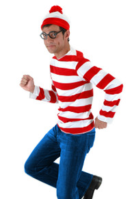 Adult Where's Waldo Costume Shirt, Hat & Glasses