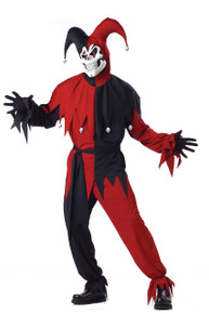 Jester Black & Red Evil Men's Plus Size Costume w/ Mask