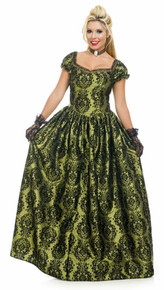 Ladies Victorian Princess Green Flocked Dress
