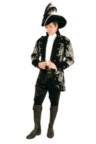 Mens Plus Size Long John Silver Velvet Jacket w/ Shirt, Cuffs & Belt