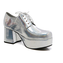 "Pimp Shoes Men's 3"" Platform Disco Shoe - Silver Hologram"