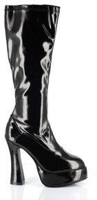"ChaCha Platform Zip Up Knee High Boots w/ 5"" Heel - Black"