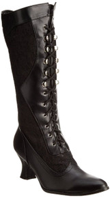 """Rebecca Lace Trimmed Lace Up Boots w/ 2.5"""" Heel"""