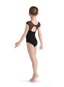 Bow Flock Yoke Mesh Girl's Cap Sleeve Leotard (M654C)