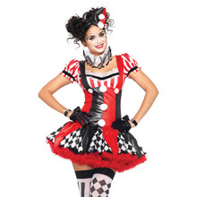 Harlequin Clown 3pc Set Red Black & White Mini Dress (83929)