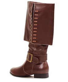 "Men's Brown Captain 1"" Heel Knee High Pirate Boot"