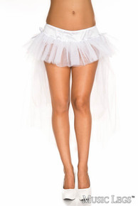 White Long Back Multi Layered Tulle Petticoat with Satin Bows