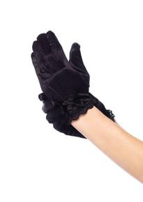 Lace Trimmed Little Girl's Black Satin Gloves