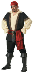 Rent: Men's Plus Size Pirate Shirt w/ Vest, Boot Tops, Sash, Bandana & Belt
