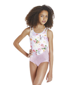Front Aerial Girls Gymnastic Leotard Purple or Pink Kittens