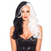 Black & White Half & Half Long Wavy Wig