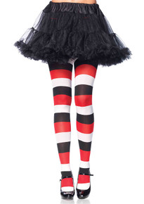 Darling Doll Opqaue Striped Red White & Black Tights