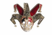 Crackle Skull Jester Mask Venetian