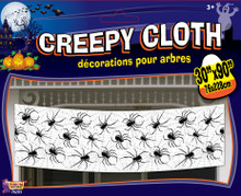 "Creepy Cloth Decor Spiders and Spiderwebs 30""x90"""