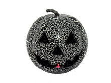 Crackle Black Pumpkin with Light