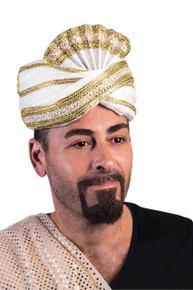 Arabian Shiek Sultan Hat White w/ Gold Trim