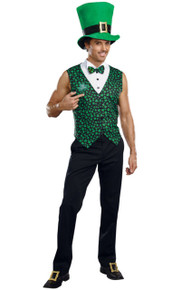 Irish Stripper Mens Lucky Leprechaun Vest & Bow Tie w/ Hat