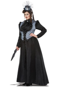 Victorian Lizzy Borden Plus Size Dress w/ Vest & Pettiskirt
