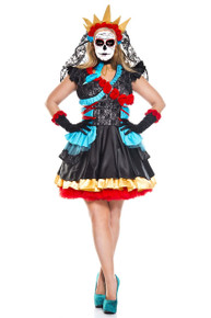 Day of the Dead Darling Full Figure Dress w/ Veil Choker & Gloves