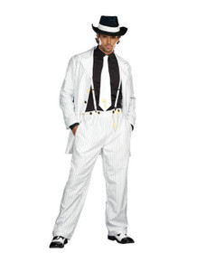 Zoot Suit Riot Men's White with Black Pinstrips