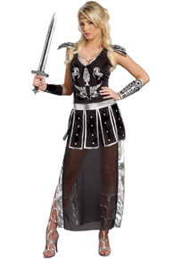Glorious Gladiator Female Roman Soldier Black and Silver