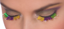 Mardi Gras False Eyelashes with Adhesive